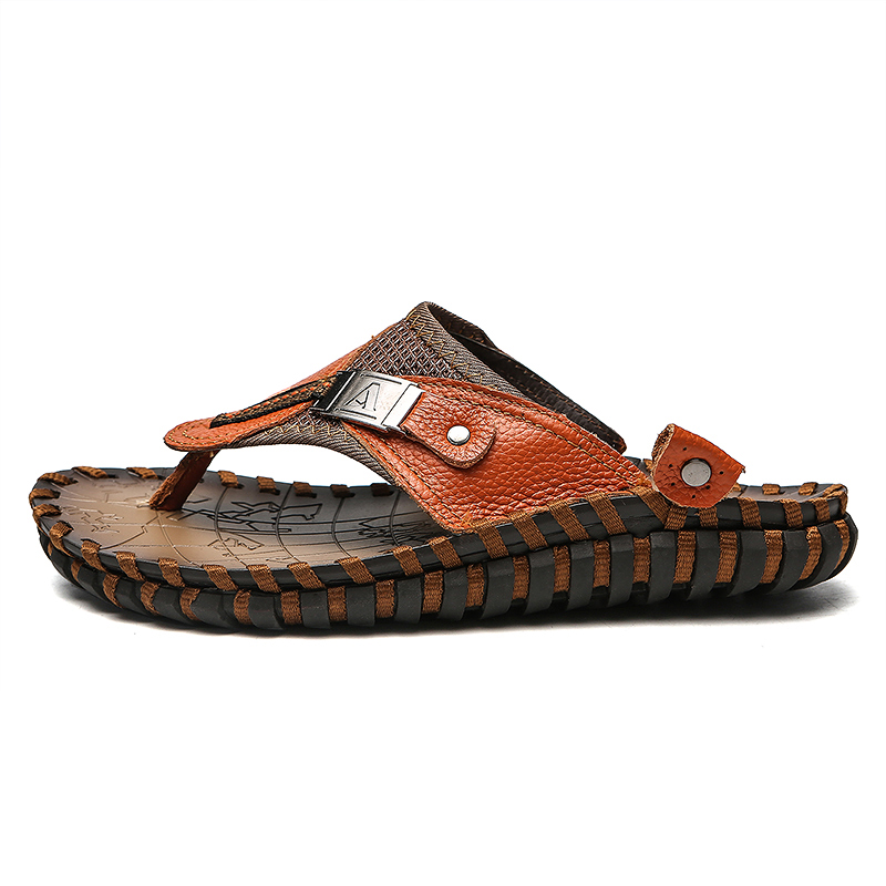 Valstone Marka Luksuzni pravi kožni papuče Muška ljetna prirodna - Muške cipele - Foto 2