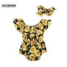 New Fashion Newborn Kids Baby Girls Flower Sleeveless Romper Jumpsuit 2Pcs Outfi