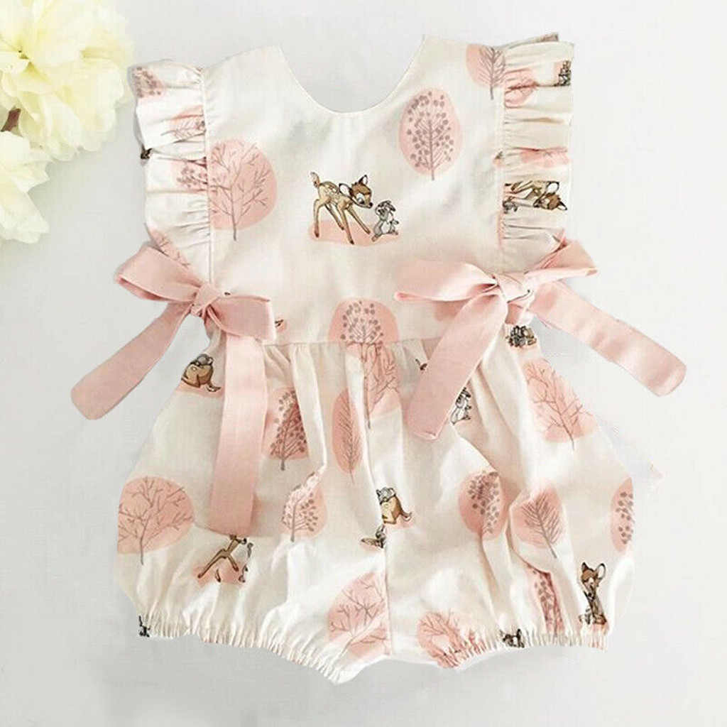 Toddler Newborn Baby Girl Summer Clothes Cute Cartoon Deer Bow Cotton   Romper   Jumpsuit Infant ribbed baby clothes bebek tulum