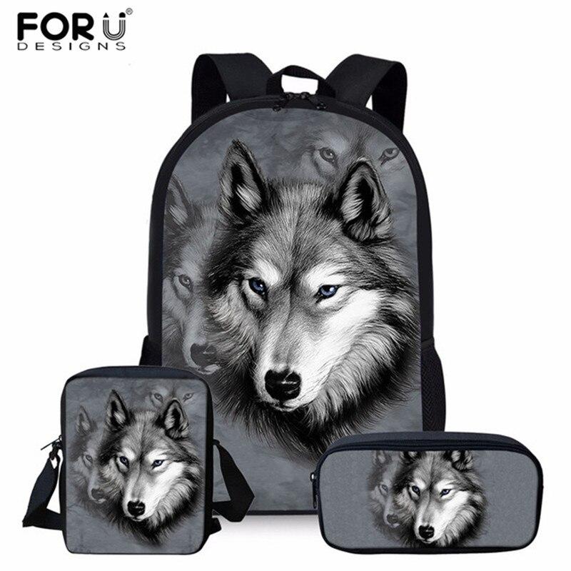 FORUDESIGNS 3pcs/Set School Backpack For Kids Boys Wolf Printing Children Orthopedics Rucksack Bookbag Pencil Mochila Escolar