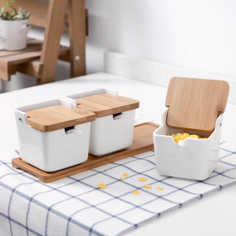 Daily special kitchen supplies ceramic seasoning pot three sets of creative condiment bottles box set