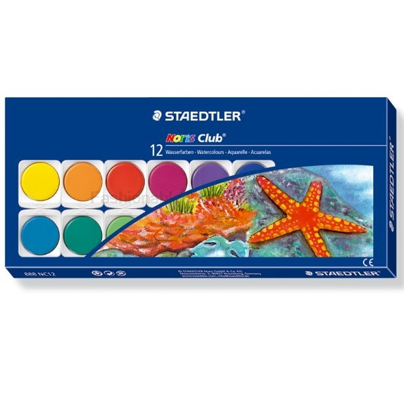 STAEDTLER 888 NC12 12 color solid watercolor paint + Brush + palette set Markers & Highlighters for Children Artist  School Supp paint palette color mixing tray drawing utensil