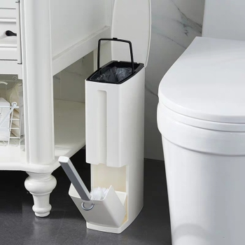 6L Narrow Plastic Trash Can Set Toilet Brush Bathroom Waste Bin Dustbin Trash Cans Garbage Bucket Garbage Bag Dispenser papelera kosz na smieci garbage de bag holder reciclaje commercial hotel lixeira cubo basura recycle bin dustbin trash can