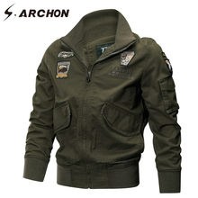S.ARCHON US Army Air Force Military Jacket Men Autumn Winter Tactical Pilot Bomber Jacket Male Casual Cotton Cargo Coat Jackets(China)