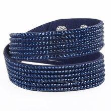 Fashion Wrap velvet bracelet leather crystal bracelet with snap button clasp crystal Bangle couple jewelry
