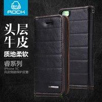 2015 New 4 Color For Iphone 5C Original Rock Brand Natural Skin Luxury Flip Cowhide Genuine