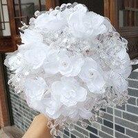 High Quality Acrylic Crystal Wedding Bouquet White Silk Flowers Bridesmaid Bouquet Handmade Atificial Flowers Bouquet W5008