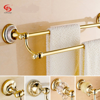 Free Shipping Fashion Copper Towel Rack Double Bathroom Gold Towel Bar Blue And White Porcelain Towel
