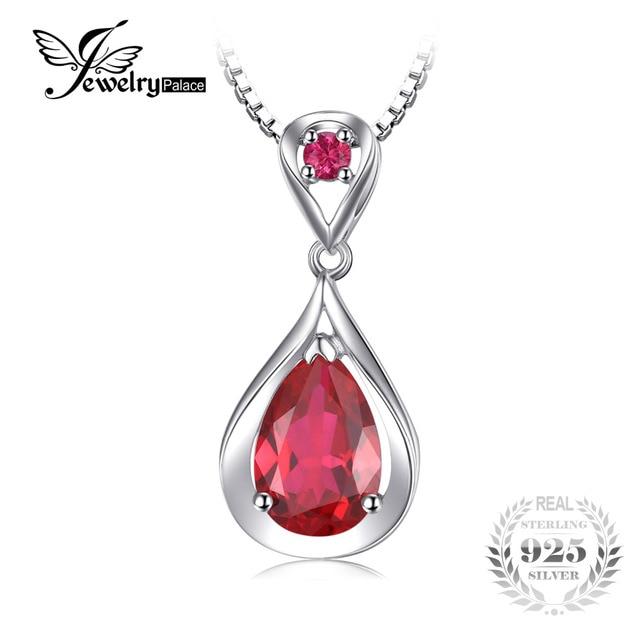 JewelryPalace Acqua di Goccia 4ct Creato Ciondolo Rosso Rubino Anniversario 925 Sterling Silver Per Le Donne Gioielleria Raffinata Senza una Catena