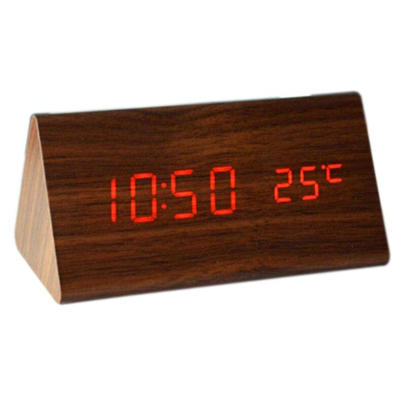 Fashional trojúhelníkové dřevěné hodiny, ovládání zvuku, teploměr, 4 barevný LED displej, digitální stolní budík na budově na stole