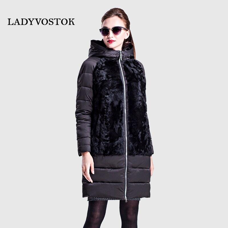 LADYVOSTOK outono inverno Longa com capuz jaqueta zip Casuais roupas plus size Modelo de pele de carneiro e peles Com Pêlo Quente 16-752A