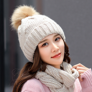 Image 4 - 2018 Winter Fashion Sequins Knitted Hat Scarf Set Pompom Beanies Hat For Women brand new thick skullies Warm neck female cap