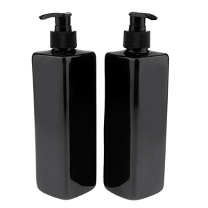 Image 4 - 4pcs 500mL Refillable Empty Bottles For Makeup Lotion Pump Bottles Shampoo Container Dispenser Black