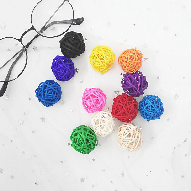 10PCS/3CM Artificial Rattan Ball Wedding Birthday Party Party Decoration Ball Home Goods Decoration Supplies