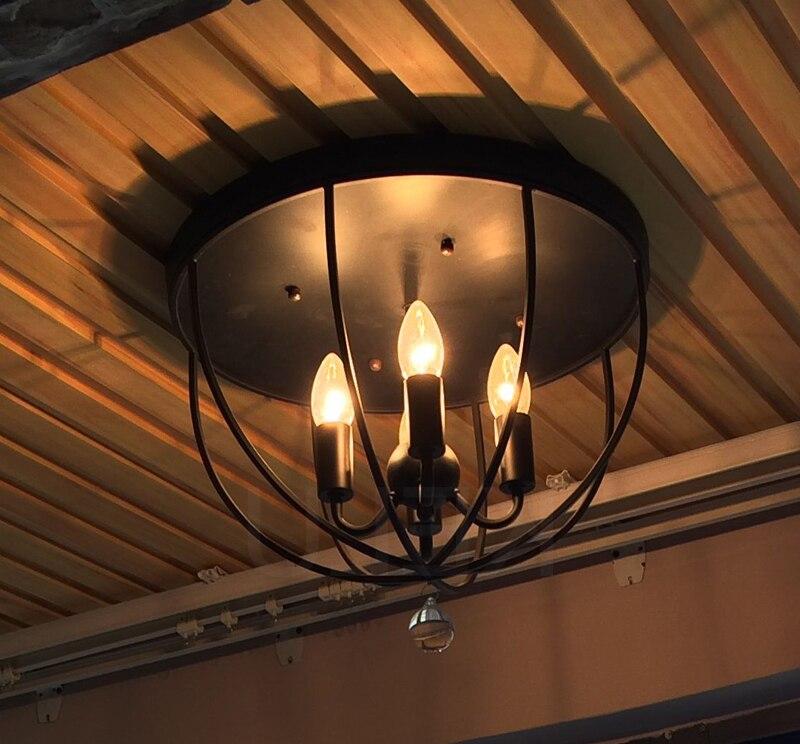 Yumei Li's store Iron Ceiling Light Retro Industrial Wind Corridor Entrance Bedroom Balcony Light 4heads black ceiling lamps za GY228