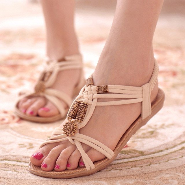 Women Sandals 2019 Summer Shoes Bohemia Women Shoes New Fashion Beach Sandals Solid Women Flip Flops Casual Flat Sandalias Mujer