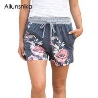Ailunsnika Women Summer 2017 Flush Floral Print Charcoal Casual Drawstring Shorts Beach Short Pants DL77024