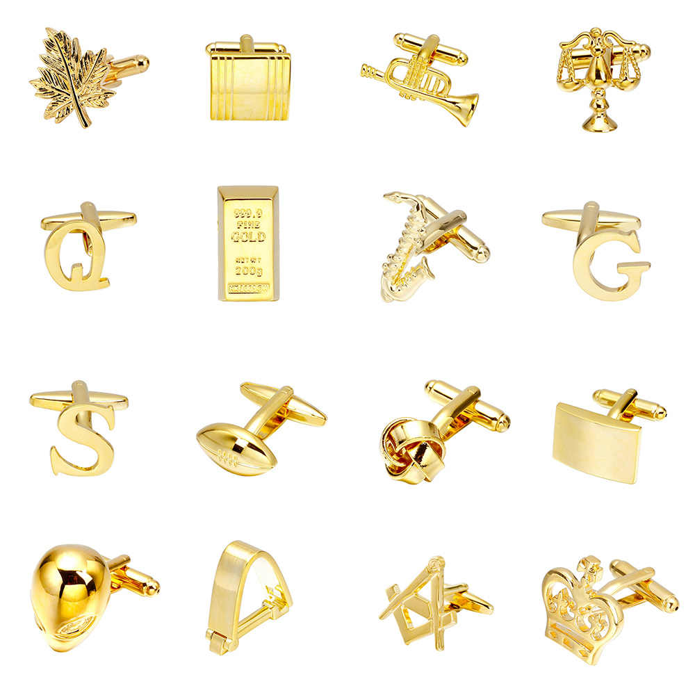 MeMolissa 高級ゴールドカフス 18 ボール/手紙/スピーカー/エイリアンデザインハイエンド男性ビジネスシャツカフスボタン結婚式のカフスボタン