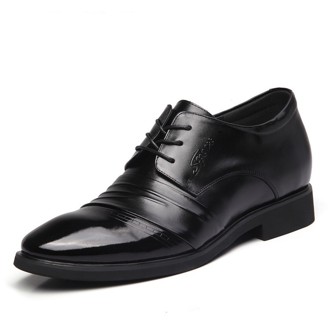 G0125  Business Men's Dress Shoes Invisible Inside Increase Height Men's  Groom Wedding Shoe Genuine Leather Men's Shoes