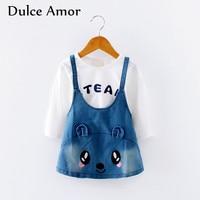 Dulce Amor 2017 New Baby Girls Clothes Autumn Girls Dress Set Cotton Full Sleeve Pullover Shirt