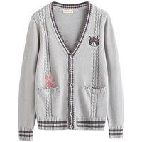 Gray Sweet Uniform Sweater Cute Cat Embroidery Japanese Student Style JK Loose Long Sleeve Deep V neck Cardigan