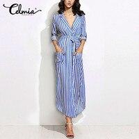 CELMIA Fashoin Women Vertical Striped Long Shirt Dress Ladies Lapel Long Sleeve Belted Side Split Maxi