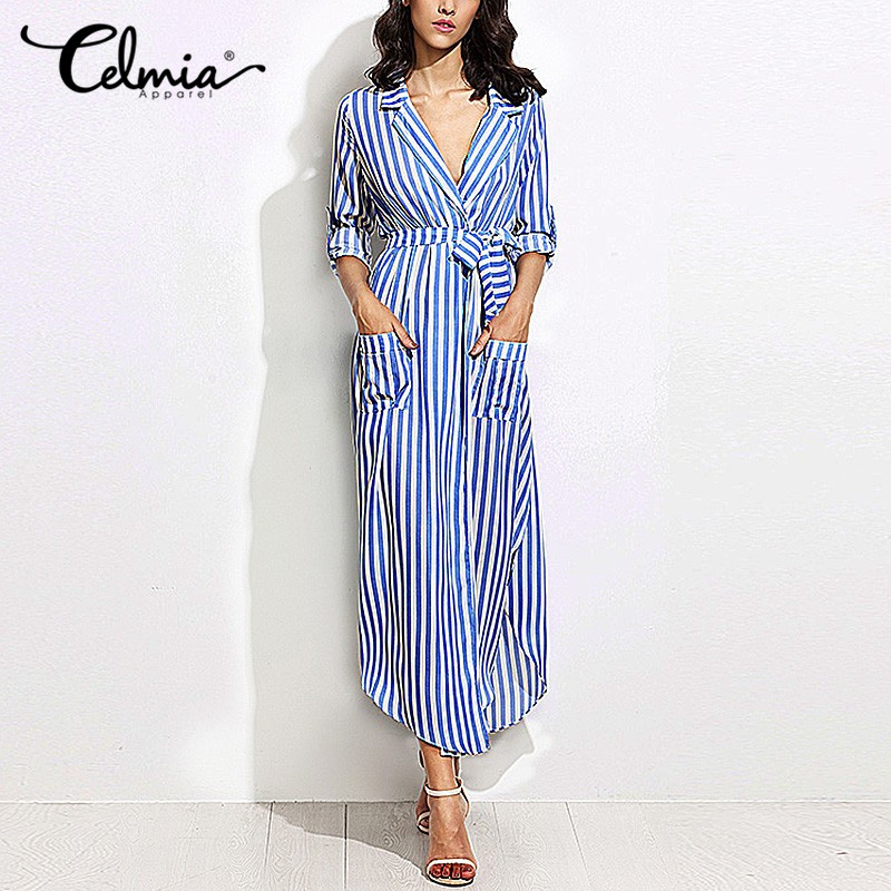Women elegant vertical striped long shirt dress cardigan for Vertical striped dress shirt