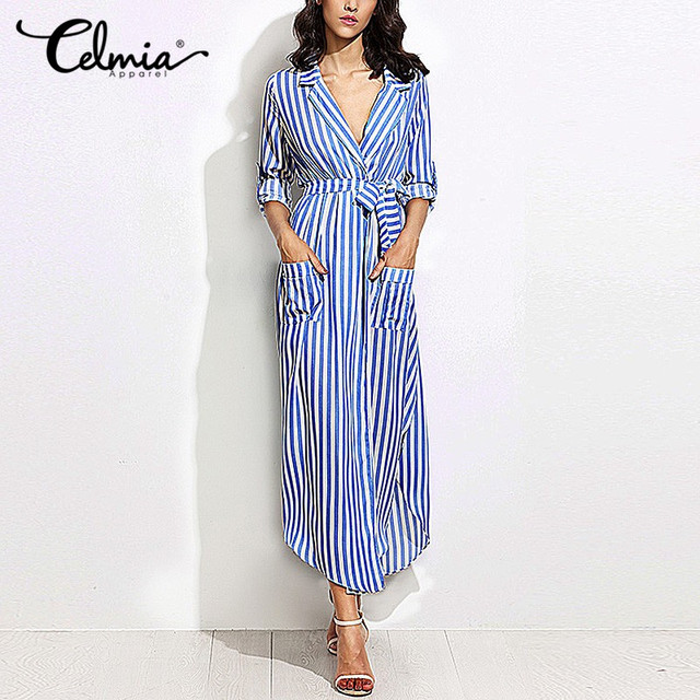 Women Elegant Vertical Striped Long Shirt Dress Cardigan Ladies Lapel Long  Sleeve Split Maxi Dresses With Belt Plus Size Vestido-in Dresses from  Women s ... 0ece09a2290c