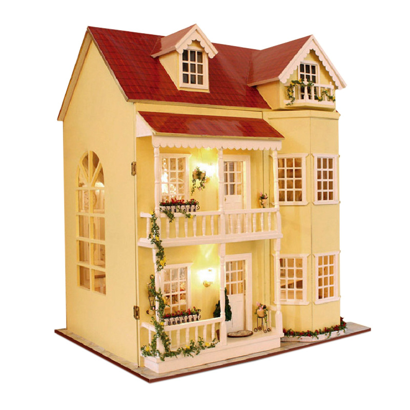 Large DIY Fairy Homeland Dollhouse 3D Miniature Lights+Wood Handmade Crafts Furniture Building Home Decoration Gift for Kids Toy 1