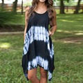 Summer 2017 Women Sexy Sleeveless Tank Print Dress Irregular Hem Beach Casual Loose Sundress 00189