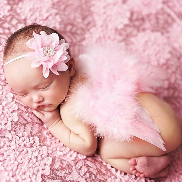 2017 beautiful cute angel baby feather newborn photography props wings costume headband 1set apr20 30