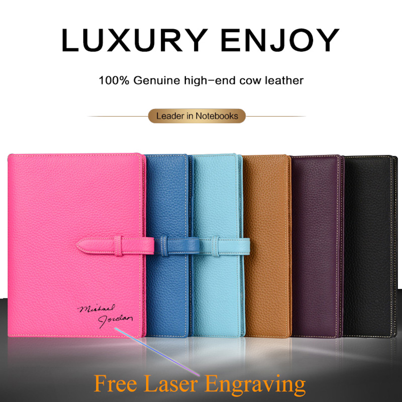 Genuine Cow Leather A5 Binder Planner Spiral Pad Loose leaf Writing Pads Business Rings Notebook Diary Office School Supplies free logo custom leather a5 notebook mini writing pads binder loose leaf diary office school mini a6 pu notepad with rings