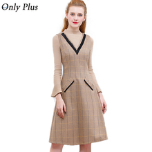 ONLY PLUS 2017 Woolen Dress Winter Casual Pocket Sleeveless Tank Vest Dresses A-Line Deep V-Neck Female Vestidos High Quality
