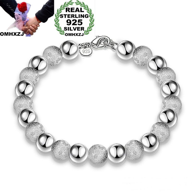 OMHXZJ Wholesale Personality Fashion OL Woman Girl Party Wedding Gift Silver 8mm Beads Chain 925 Sterling Silver Bracelet BR02