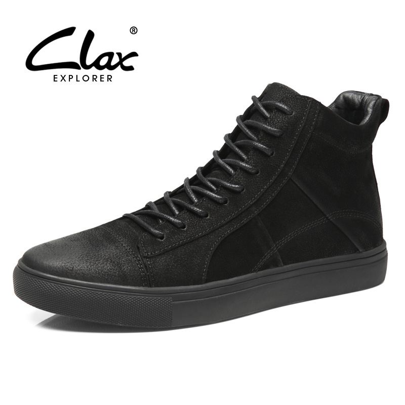 CLAX Mens Leather Boots Genuine Leather Autumn Fashion Casual Shoe Male Ankle Boot chaussure homme plus