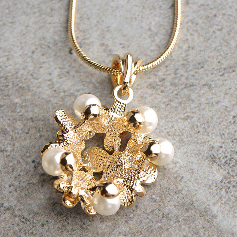 Blucome Classic Flower Enamel Simulated Pearl Jewelry Sets Long Pendant Necklace Earrings Wedding Party Accessories For Women