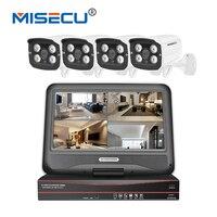 MISECU 1080 P 8CH 48 В POE NVR с 10,1 ''ЖК дисплей монитор 4 шт. ИК напольный камеры комплект оповещение по электронной почте видеонаблюдения Системы