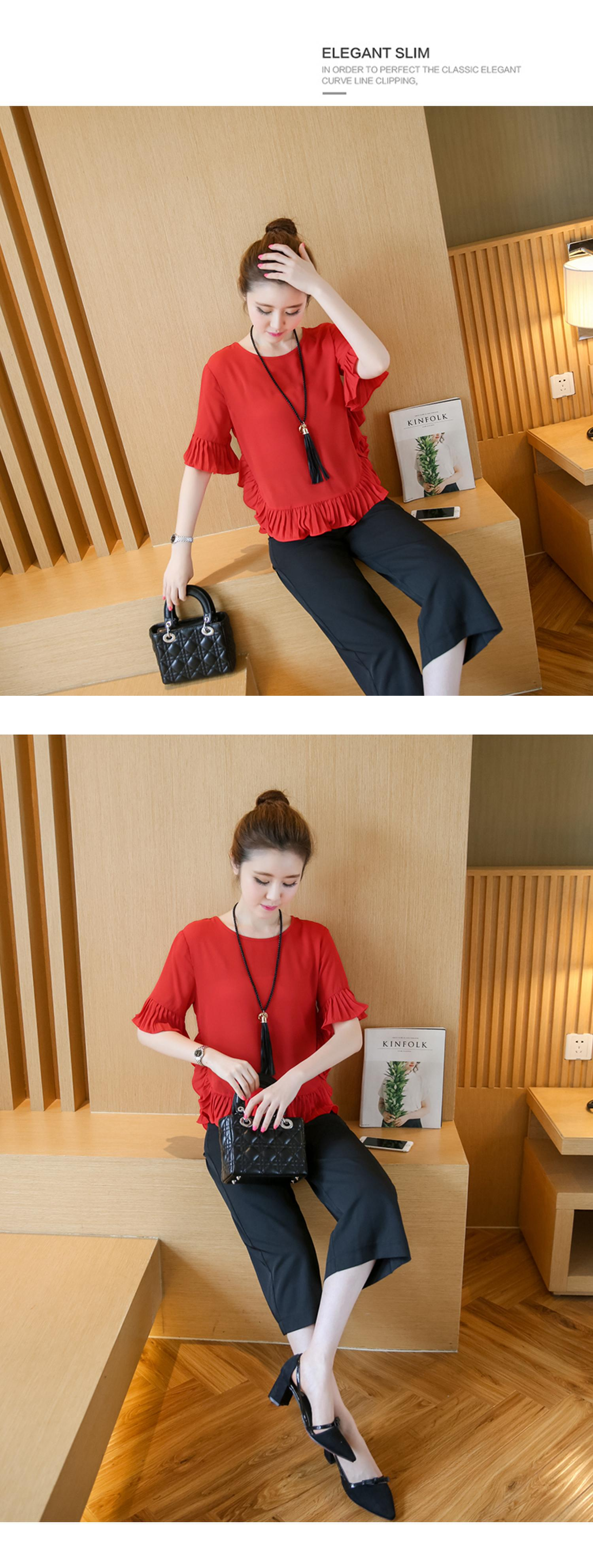 XL -4XL New women's clothing big yards wide leg korean fashion stripe pleated chiffon blouse suits summer two-pcs set loose 11