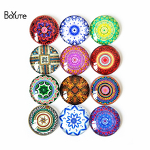 BoYuTe Glass Cabochon Mixed Round Photo Flower Mandala Cameo Cabochon Setting Supplies for Jewelry Accessories Handmade Pattern