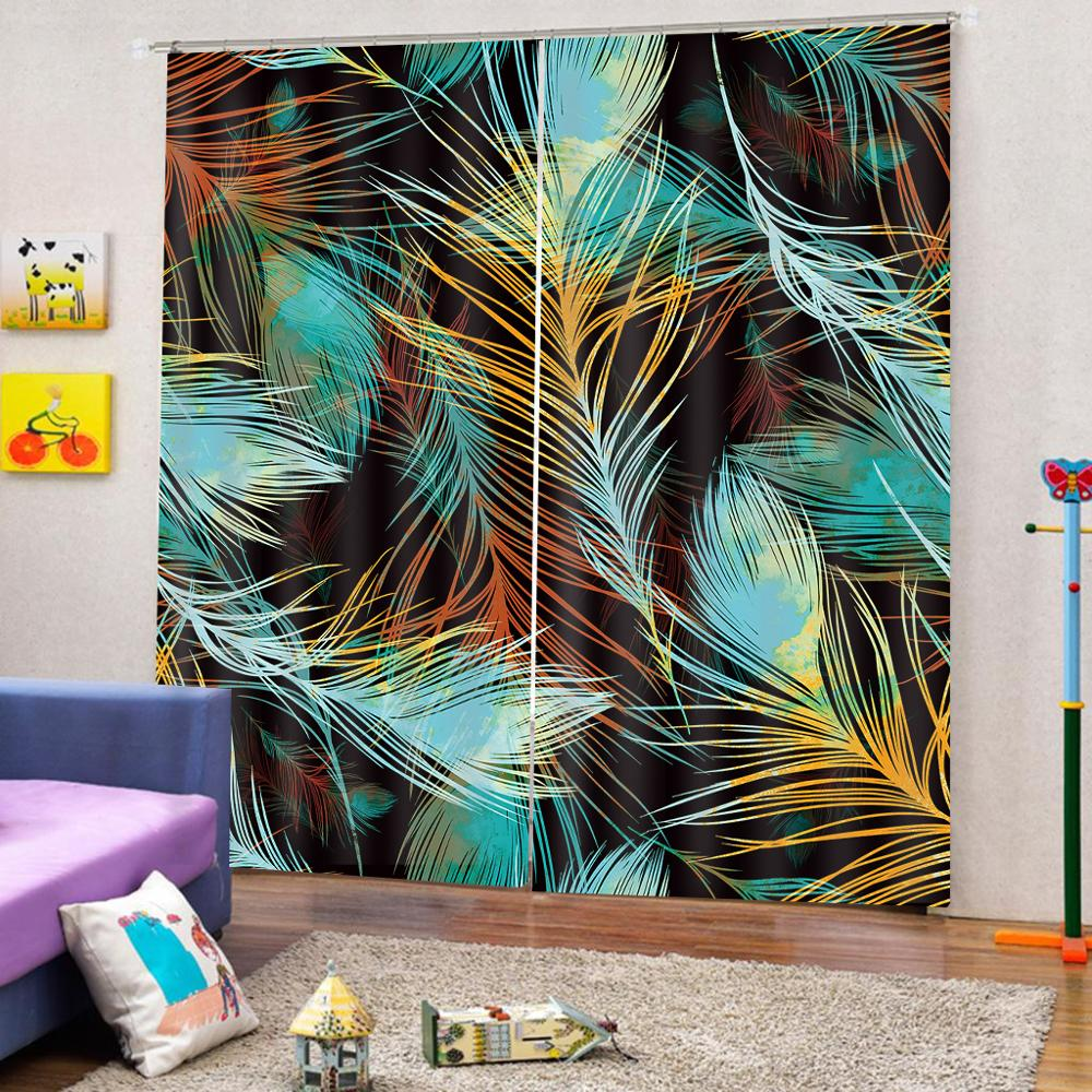 Customized size Luxury Blackout 3D Window Curtains For Living Room peacock curtains feather curtain in Curtains from Home Garden