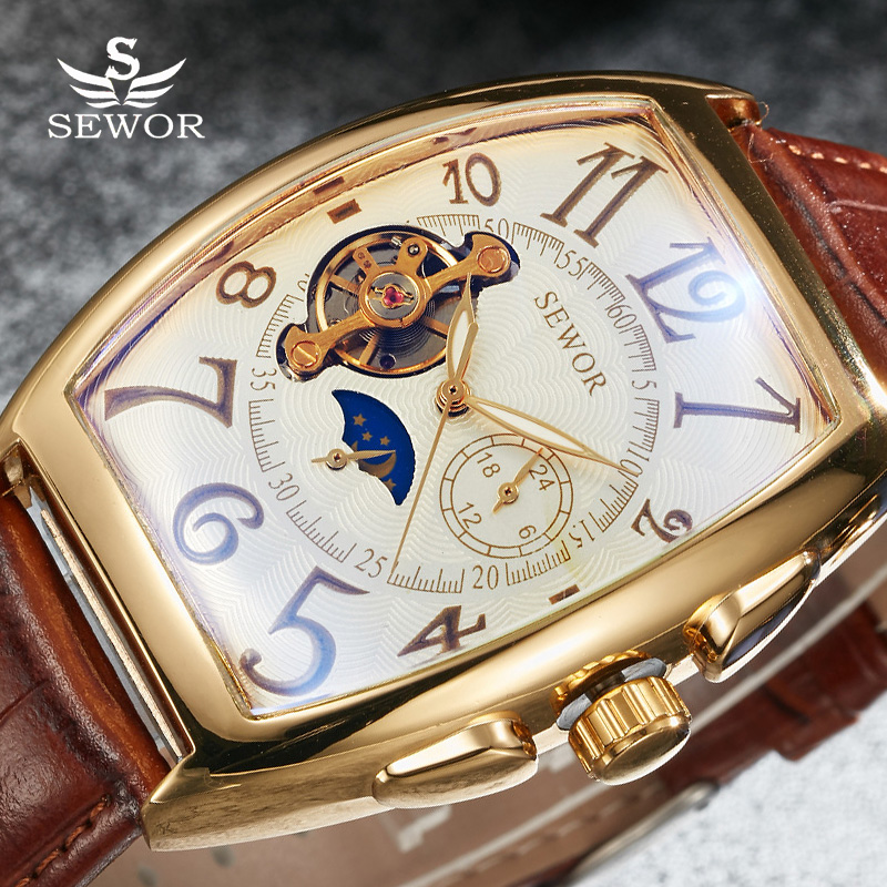 SEWOR Toubillon Mechanical Watch Men Gold Genuine Leather Strap Luxury Automatic Watches Men Clock Male Monphase Wristwatches sewor toubillon mechanical watch men gold genuine leather strap luxury automatic watches men clock male monphase wristwatches