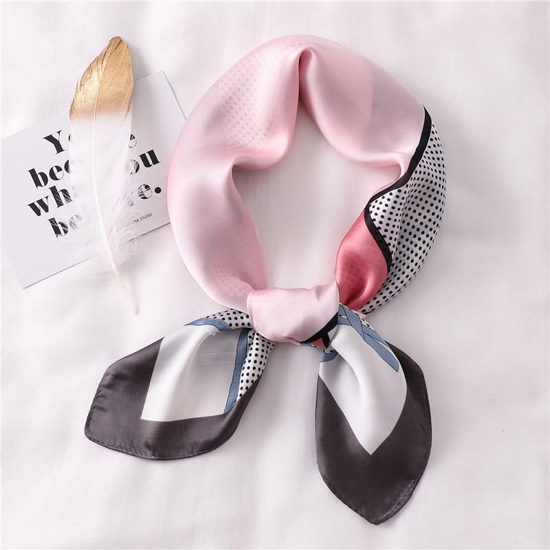 Dot Print Square Silk Scarf Women Fashion Small Neck Scarves 70x70cm Multi-function Neckerchief Ladies Collar Soft Bandana Wrap