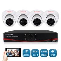 SUNCHAN HD 720P 1MP HDMI CCTV System 4CH Full 720P AHD DVR Kit 4 720P Outdoor