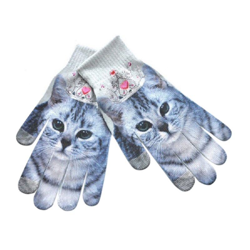1pair Men Women Cute 3d Digital Printing Animal Fruit Winter Knitted Mittens Colorful Wrist Warm Knitted Full Fingered Gloves A Great Variety Of Models