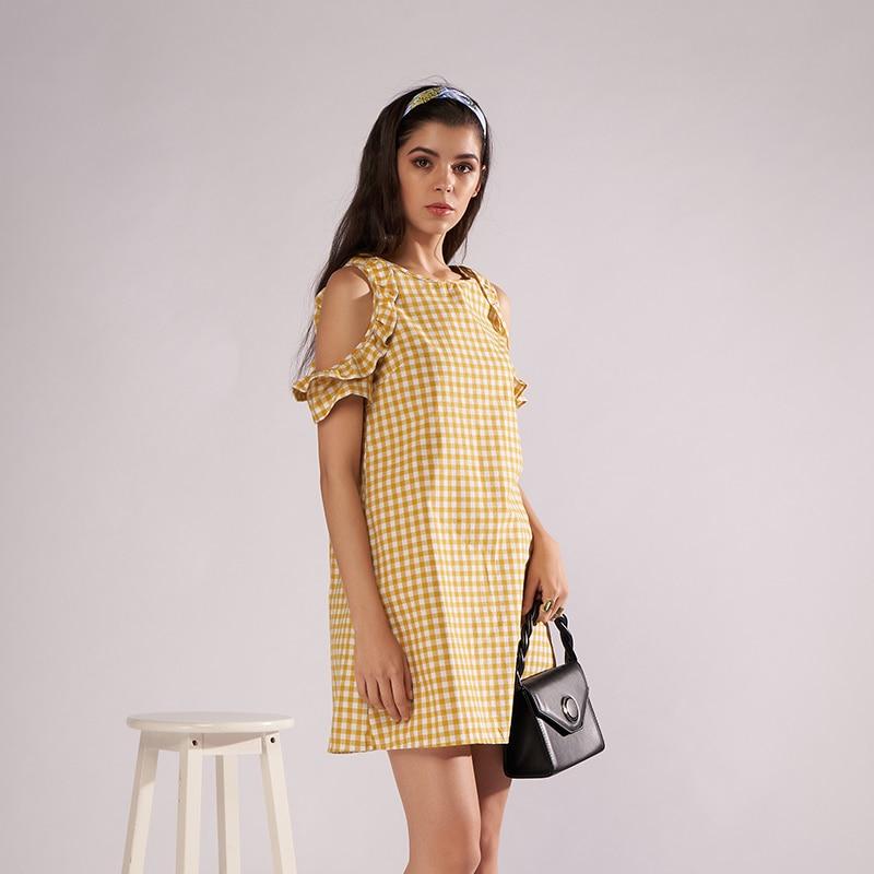 Arfreeker Casual Summer Dress Plus Size Yellow Plaid Cotton Beach Dresses  For Women Brand Short Dress Sundress Vestido 2018 New-in Dresses from  Women s ... 2e578ed6904f
