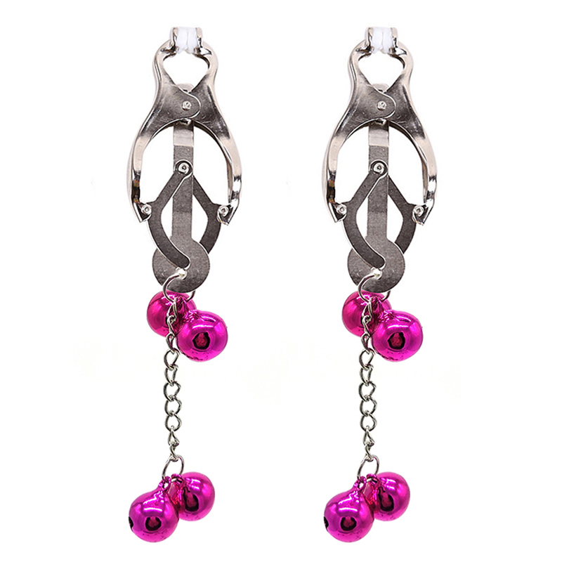 1 Pair Nipple Clamps With Short Chain Metal Bells Nipple Clamp Flirting Pinzas Pezones Teasing Bdsm Bondage Toys Sex Accessories