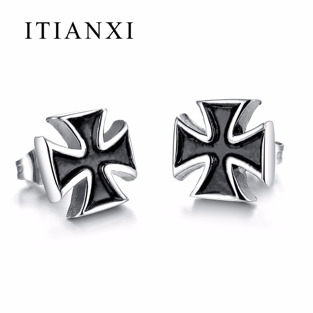 ITIANXI font b Fashion b font Men Punk Style Cross Stud Earrings High Quality Stainless Steel