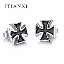 ITIANXI Fashion Men Punk Style Cross Stud Earrings High Quality Stainless Steel Male Party Earring Jewelry Hot Sale
