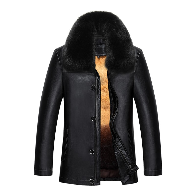 817 New Fashion Winter Clothing Men's long Jacket Leather Coat Men's Leather Coat Winter Rabbit Fur linning Mink Fur Jacket - 5