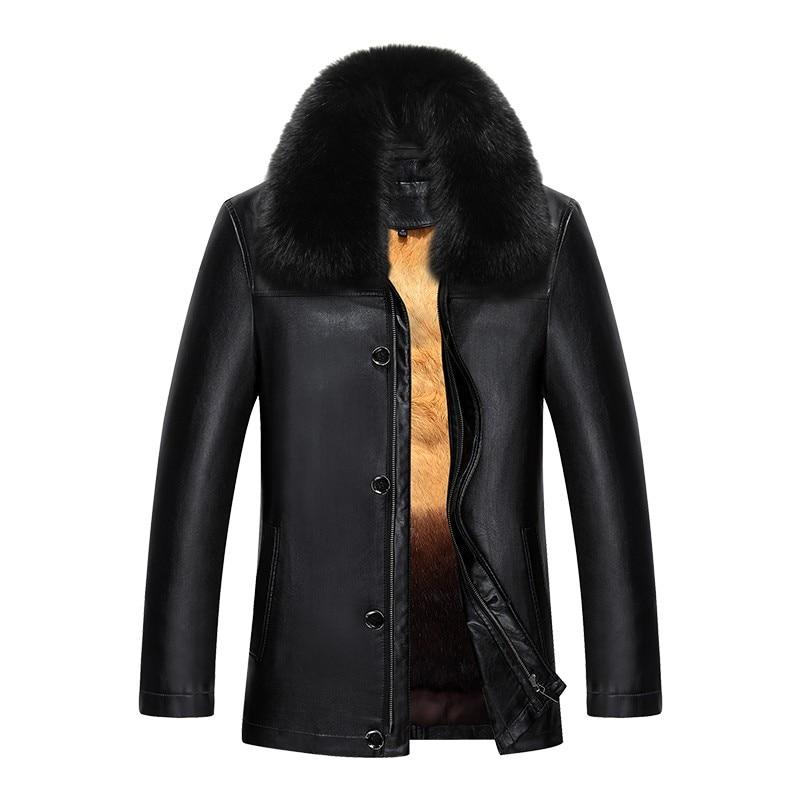 817 nouvelle mode hiver vêtements hommes veste longue en cuir manteau hommes en cuir manteau hiver lapin fourrure doublure vison fourrure veste - 5